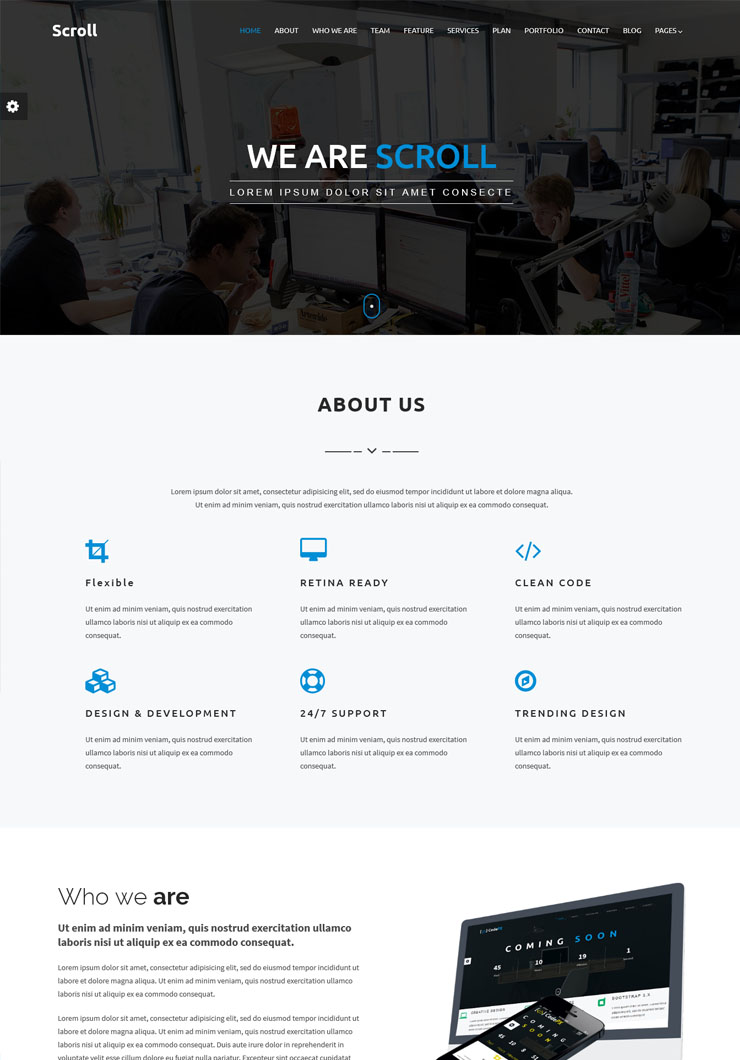 Scroll One Page Template Canyon Themes - About page template