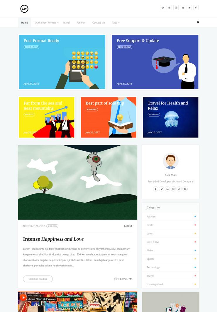 Free WordPree Blog Theme : Start Creating blog using Ezy
